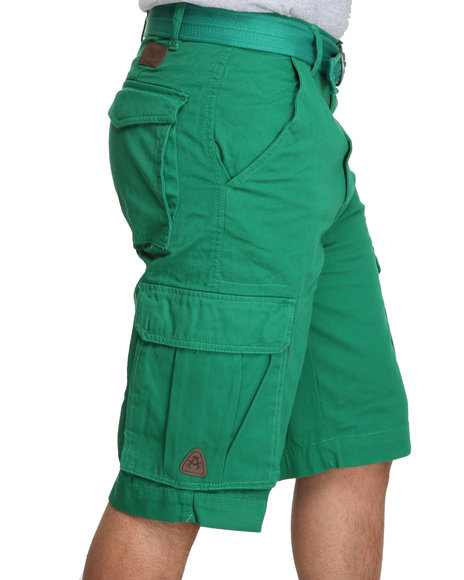 Akademiks - Men Green Camper Twill Belted Cargo Shorts