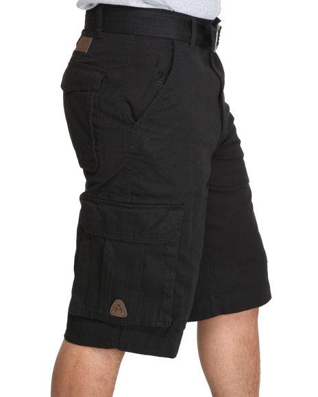 Akademiks - Men Black Camper Twill Belted Cargo Shorts