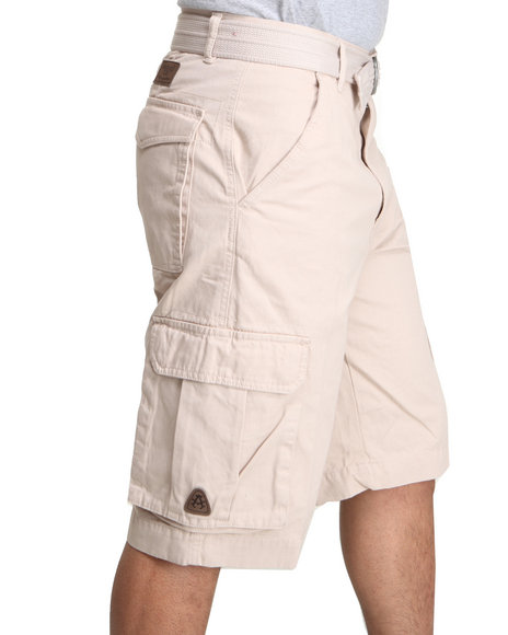 Akademiks - Men Off White Camper Twill Belted Cargo Shorts