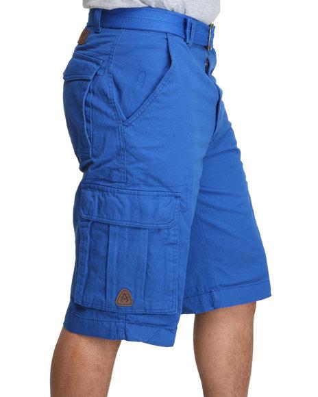 Akademiks - Men Blue Camper Twill Belted Cargo Shorts