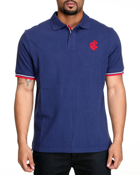 Rocawear Men Dark Blue Flame Polo