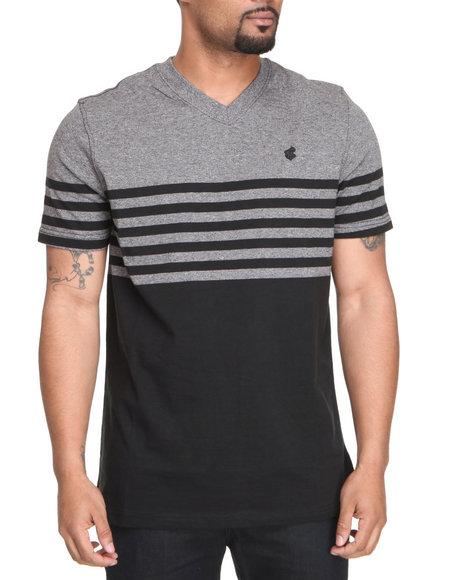 Rocawear Men Black Marled Stripe V-Neck Tee