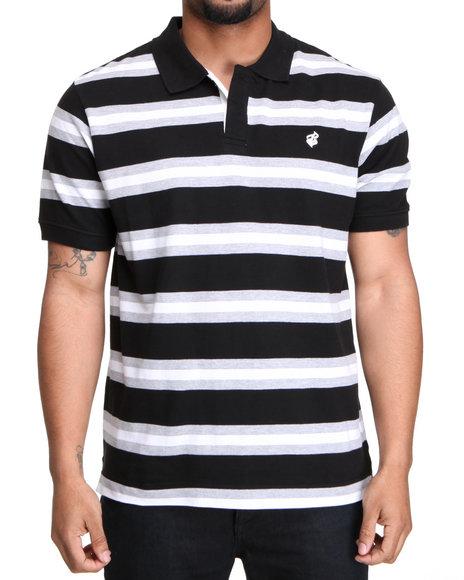 Rocawear Men Black,Grey Mini Flame Stripe Polo