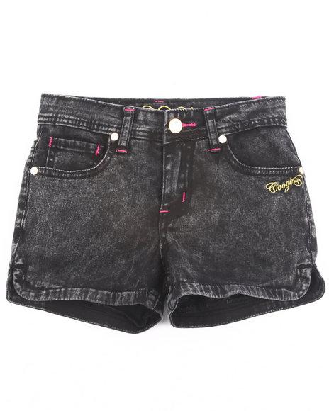 COOGI Girls Black Acid Wash Short Shorts (7-16)