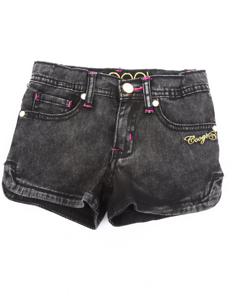 COOGI - Girls Black Acid Wash Short Shorts (4-6X)