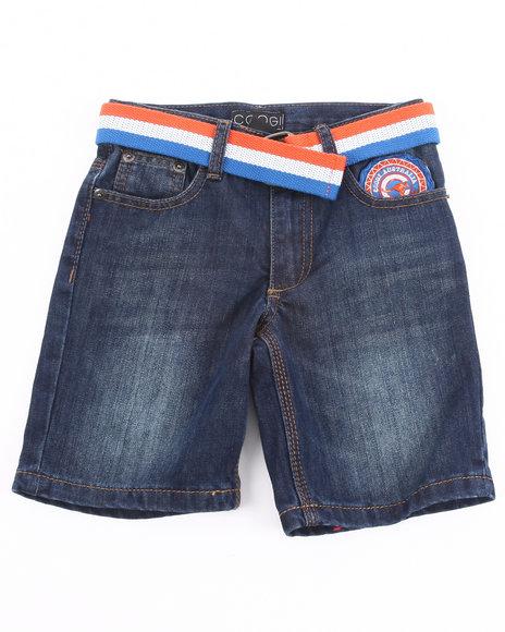 COOGI Boys Dark Wash Belted Denim Shorts (4-7)
