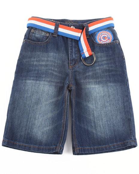 COOGI Boys Dark Wash Belted Denim Shorts (8-20)