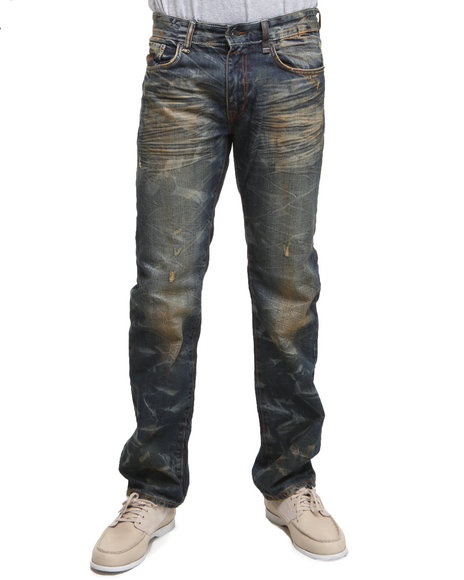Rocawear Men Vintage Wash,Brown Tally Straight Fit Jeans
