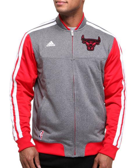 Adidas Men Grey,Red Chicago Bulls Winter Court Track Jacket