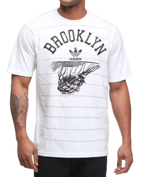 Adidas Men White Brooklyn Nets Rainin Tee