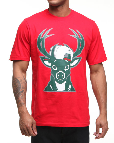 Adidas Men Red Milwaukee Bucks Snap Back Team Logo Tee