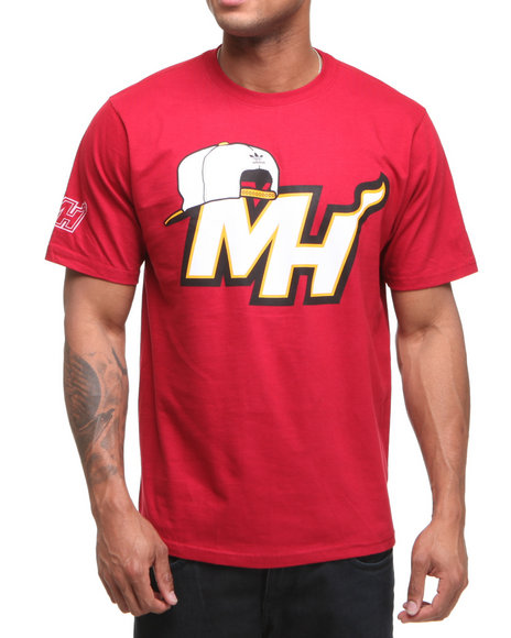Adidas Men Red Miami Heat Snap Back Team Logo Tee
