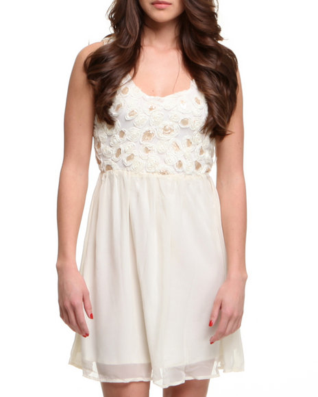 Fashion Lab Women Babe Baby Doll Dress WSequined Flower Detail Back White Medium