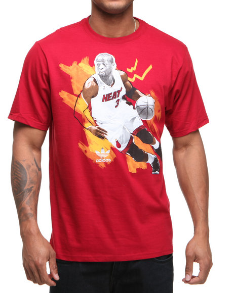 Adidas Men Red Dwyane Wade Cut N Paste Tee