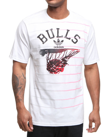 Adidas Men White Chciago Bulls Rainin Tee