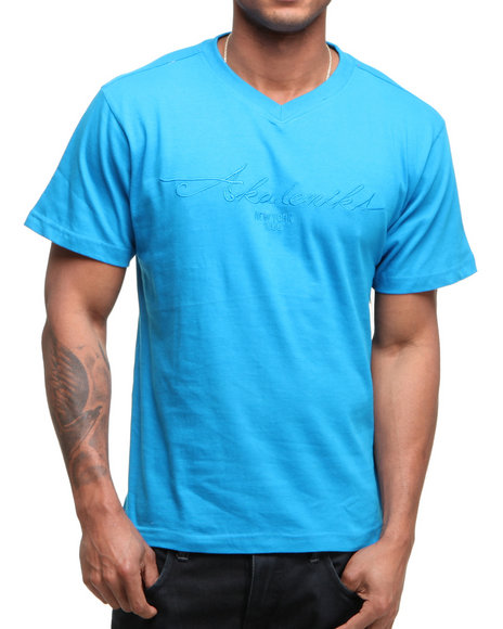 Akademiks Men Blue Prep V-Neck Tee