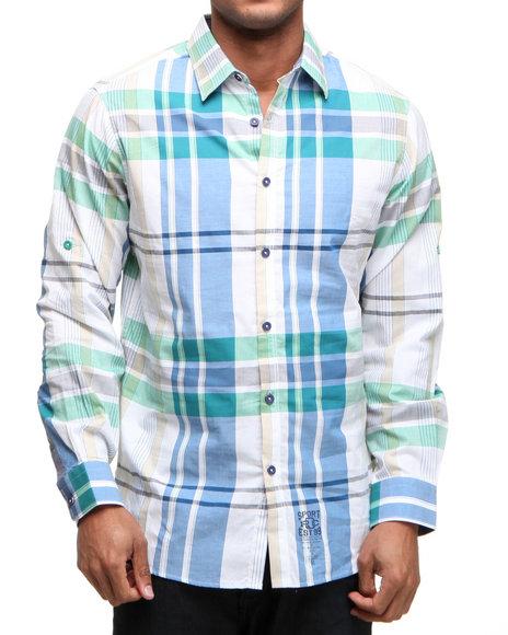 Rocawear Men Multi,White Super Size Plaid L/S Button-Down