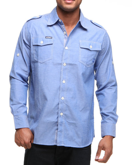Akademiks Men Light Blue Drake Button Down Shirt