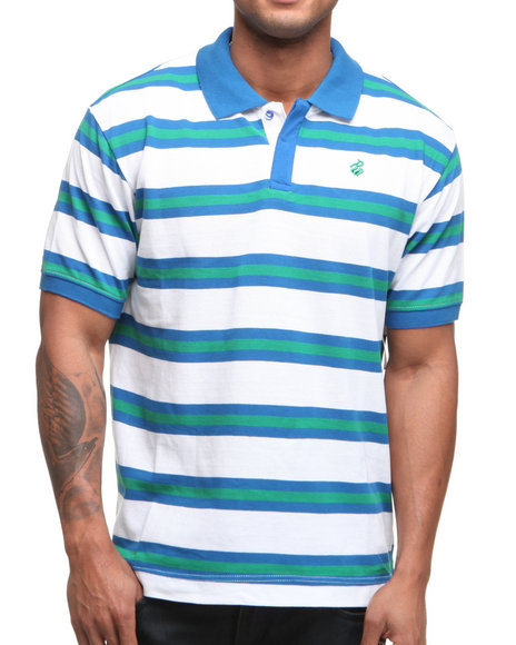Rocawear Men Mini Flame Stripe Polo Blue Medium