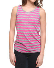 Basic Essentials - Slub Stripe Jersey Low Back Scoop Twill Tank