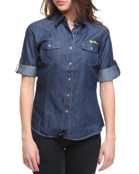 Apple Bottoms Women Medium Wash Long Sleeve Light Weight Denim Shirt