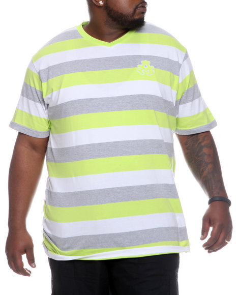 Akademiks Men Lime Green Streamline Striped V-Neck Tee (B&T)