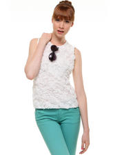 Tops - Sleeveless Rose Lace Blouse