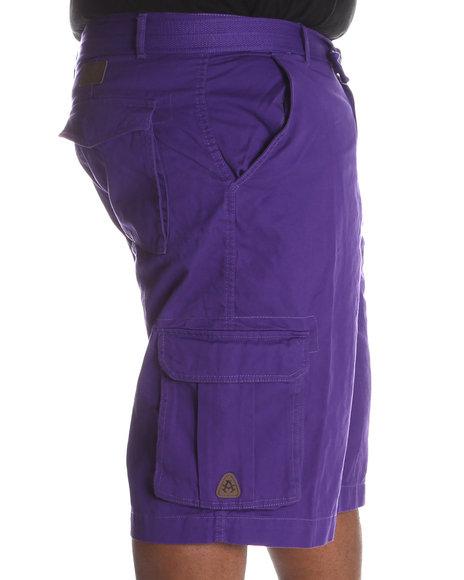 Akademiks Men Purple Camper Twill Belted Cargo Shorts (B&T)