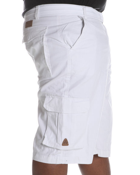 Akademiks Men White Camper Twill Belted Cargo Shorts (B&T)