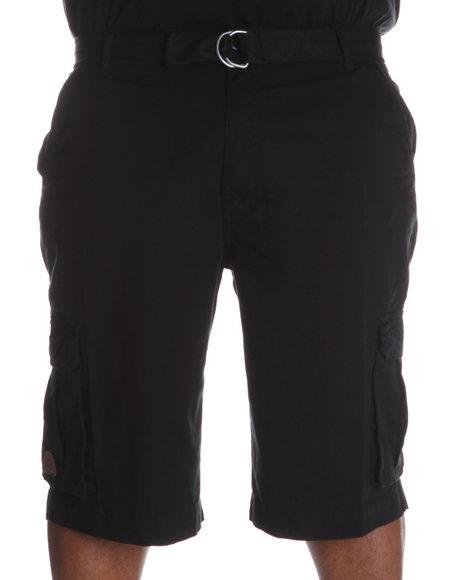 Akademiks Men Black Camper Twill Belted Cargo Shorts (B&T)