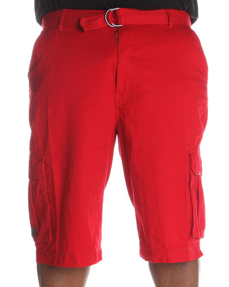 Akademiks Men Red Camper Twill Belted Cargo Shorts (B&T)