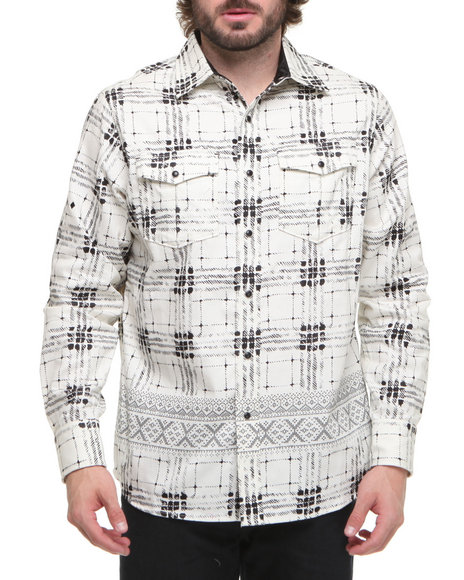 Rocawear Men Black Fairisle L/S Button-Down