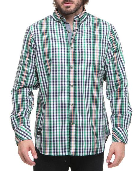 Rocawear Men Navy St Mark's Pl Plaid L/S Button-Down