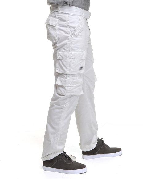 Akademiks Men White Beach Comber Lt. Twill Cargo Pants