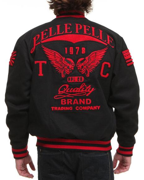 Pelle Pelle Men Black Chenille Patch Jacket