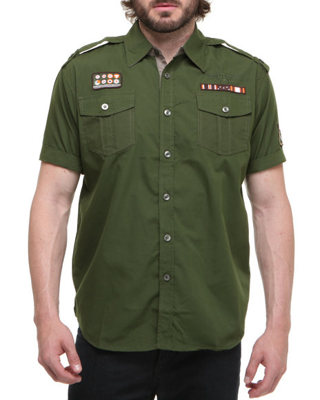 Akademiks Men Olive Fury Military S/S Button Down Shirt