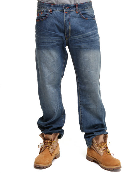 Rocawear Men Light Blue Marked Original Fit Jeans