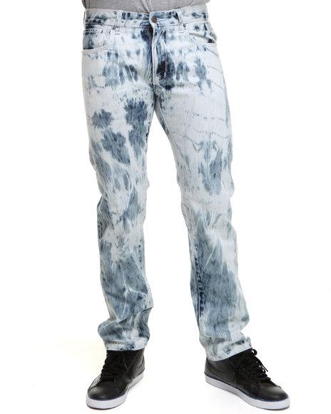 Rocawear Men Light Wash Rocawear X Jimi Hendrix Tie-Dye Wash Straight Fit Jeans