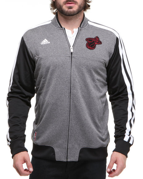 Adidas - Men Grey Miami Heat Winter Court Track Jacket