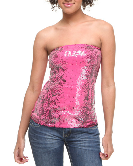 Basic Essentials Women Snake Tube Top Pink Small