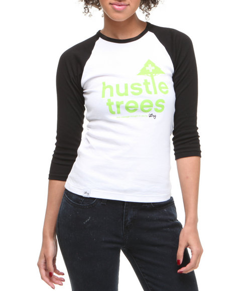 Lrg Women Black,White Lrg Hustle Trees Baseball Tee