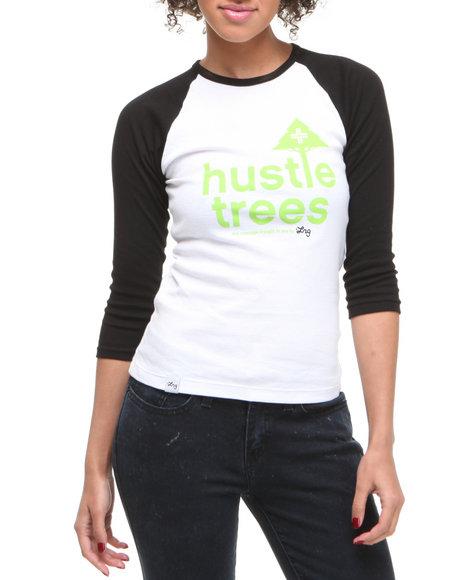 LRG Women Black,White Lrg Hustle Trees Baseball Tee