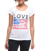 Women - Love American Flag Tee