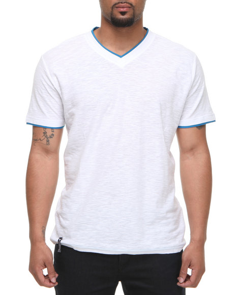 Company 81 Men White V-Neck Tee W/ Contrast Double Layer Collar & Cuff