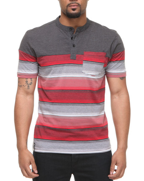 Company 81 Men Charcoal,Red Quincy Stripe Henley
