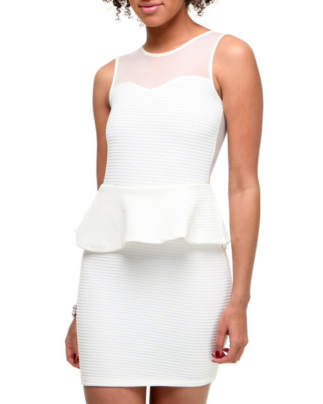 Fashion Lab Women Off White Nancy Sleeveless Bodycon Dress