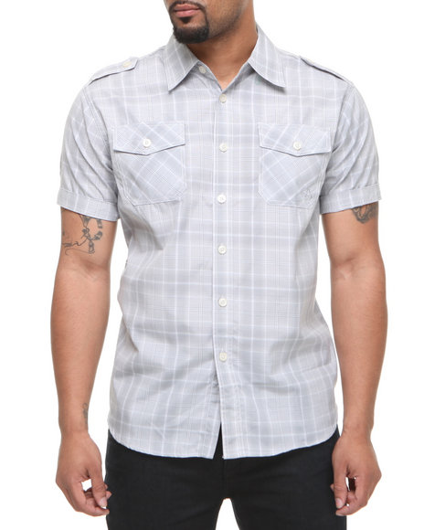 Akademiks Men Grey Brillyant S/S Plaid Button Down Shirt