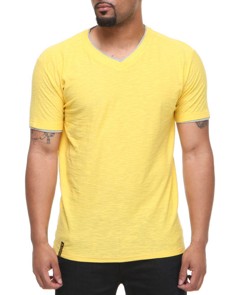 Company 81 Men Yellow V-Neck Tee W/ Contrast Double Layer Collar & Cuff