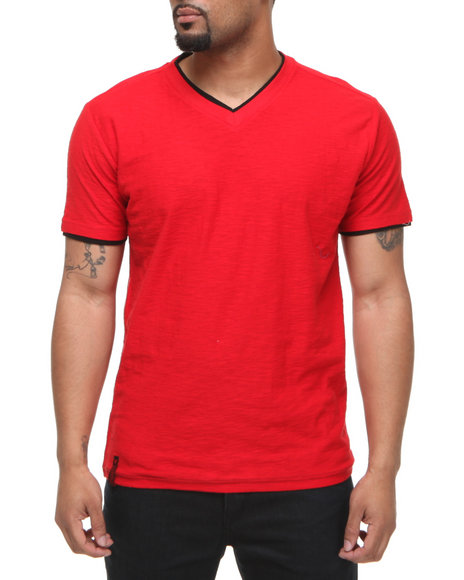 Company 81 Men Red V-Neck Tee W/ Contrast Double Layer Collar & Cuff