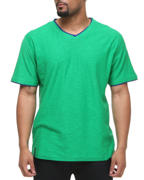 Company 81 Men Green V-Neck Tee W/ Contrast Double Layer Collar & Cuff